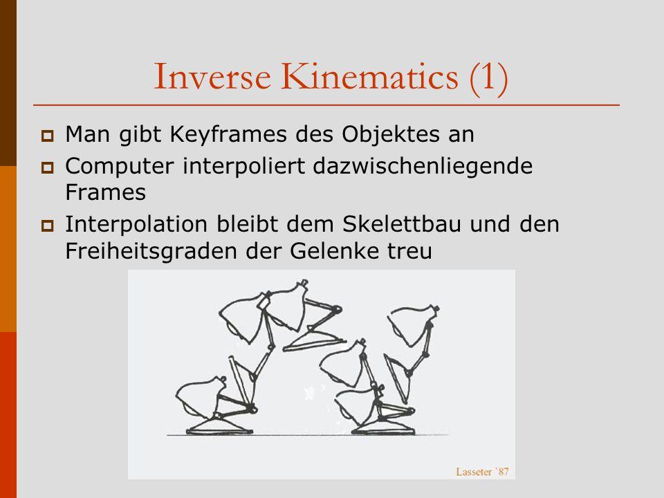 Inverse Kinematics (1)  Man gibt Keyframes des Objektes an  Computer interpoliert dazwischenliegende Frames  Interpolation bleibt dem Skelettbau und den Freiheitsgraden der Gelenke treu