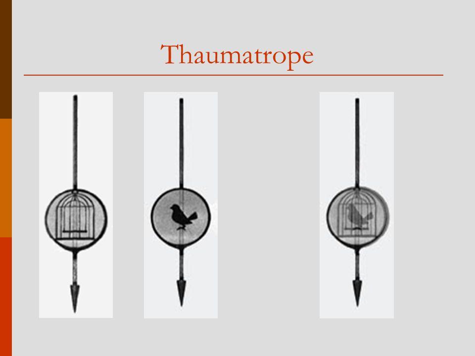 Entdeckung der Animation (2)  Mit sehr schnell aufeinanderfolgenden, sich leicht verändernden Bildern kann der Eindruck von Bewegung gewonnen werden  1832: Phenakistoscope (Joseph Plateau)  1834: Zeotrope (William George Horner)