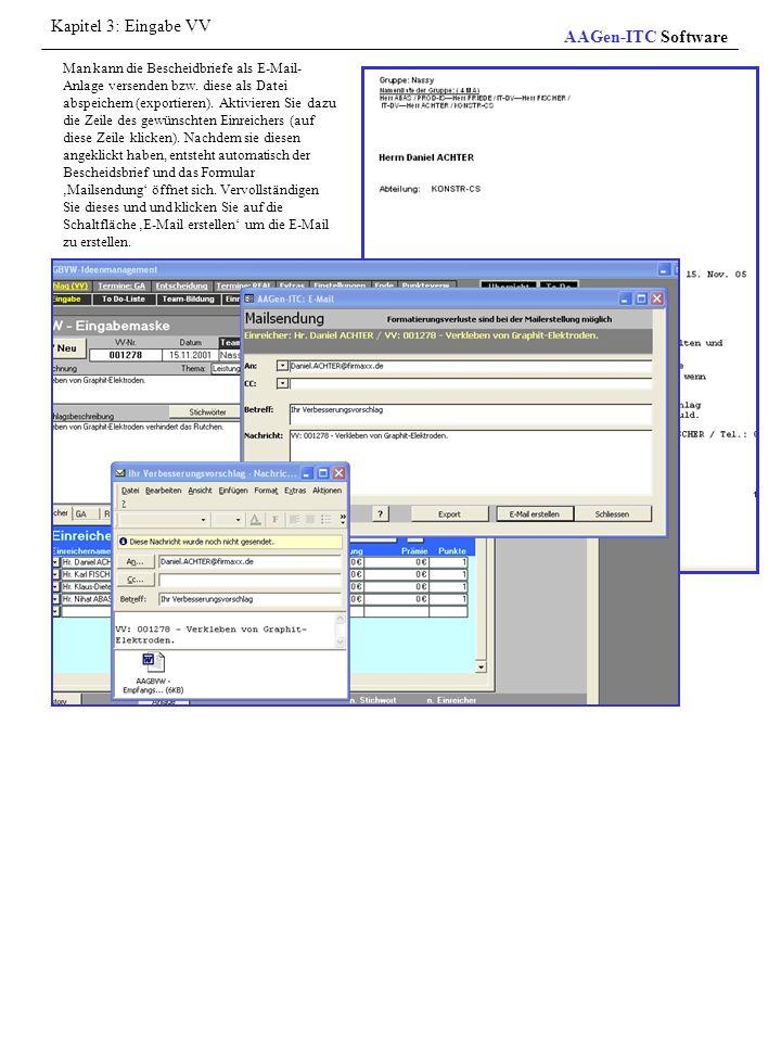 Man kann die Bescheidbriefe als E-Mail- Anlage versenden bzw. diese als Datei abspeichern (exportieren). Aktivieren Sie dazu die Zeile des gewünschten