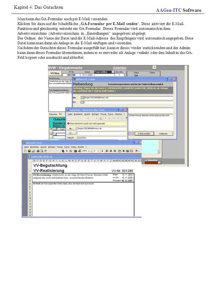 """Man kann das GA-Formular auch per E-Mail versenden. Klicken Sie dazu auf die Schaltfläche ',GA-Formular per E-Mail senden"""". Diese aktiviert die E-Mail"""