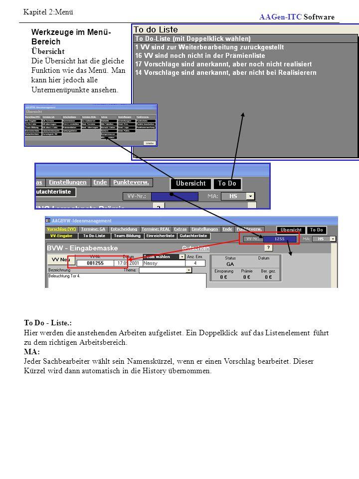 Punktesystem Die Software AAGBVW enthält ein Punktebewertungssystem, bei dem alle Funktionen betriebsbereit sind.