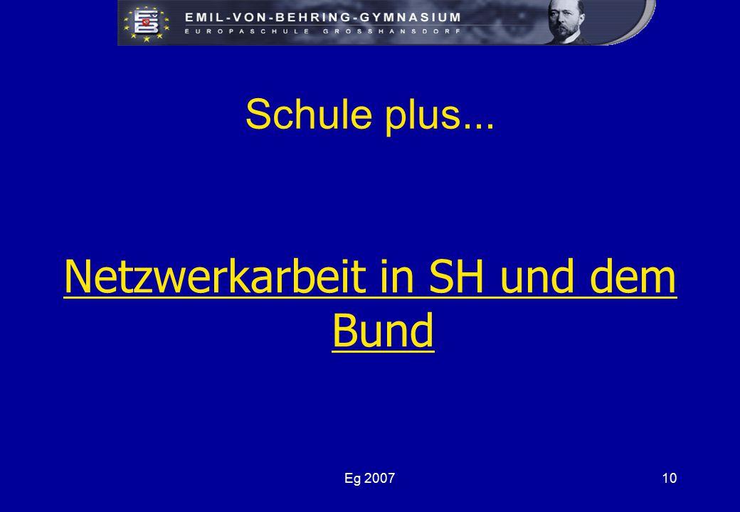 Eg 200710 Schule plus... Netzwerkarbeit in SH und dem Bund