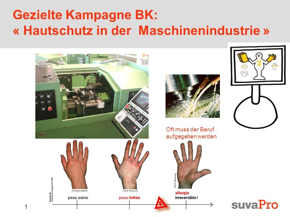 1 Gezielte Kampagne BK: « Hautschutz in der Maschinenindustrie » Oft muss der Beruf aufgegeben werden