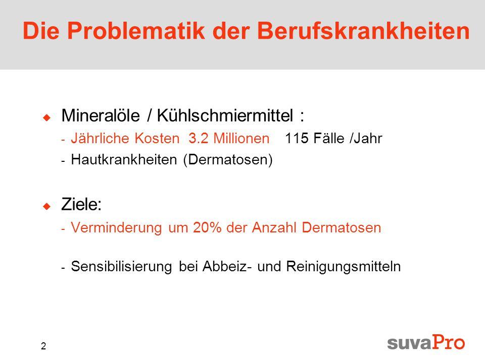 2 Die Problematik der Berufskrankheiten  Mineralöle / Kühlschmiermittel : - Jährliche Kosten 3.2 Millionen 115 Fälle /Jahr - Hautkrankheiten (Dermatosen)  Ziele: - Verminderung um 20% der Anzahl Dermatosen - Sensibilisierung bei Abbeiz- und Reinigungsmitteln