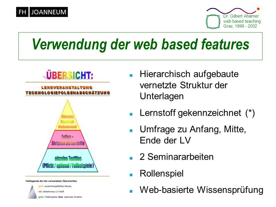 Dr. Gilbert Ahamer web based teaching Graz, 1999 - 2002 Verwendung der web based features n Hierarchisch aufgebaute vernetzte Struktur der Unterlagen