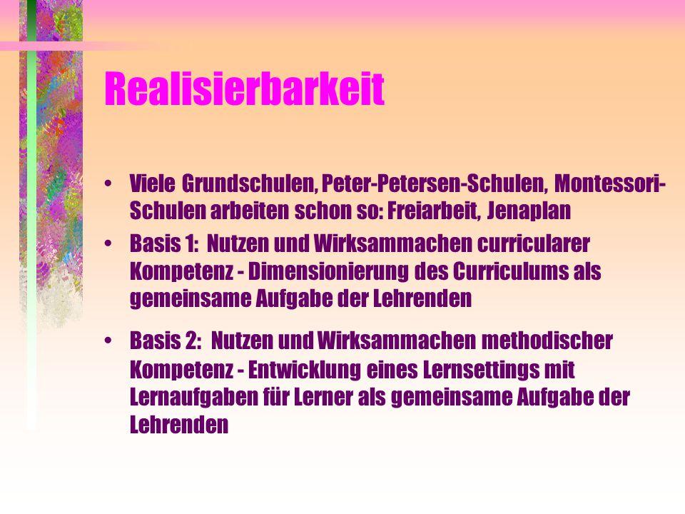 Realisierbarkeit Viele Grundschulen, Peter-Petersen-Schulen, Montessori- Schulen arbeiten schon so: Freiarbeit, Jenaplan Basis 1: Nutzen und Wirksamma