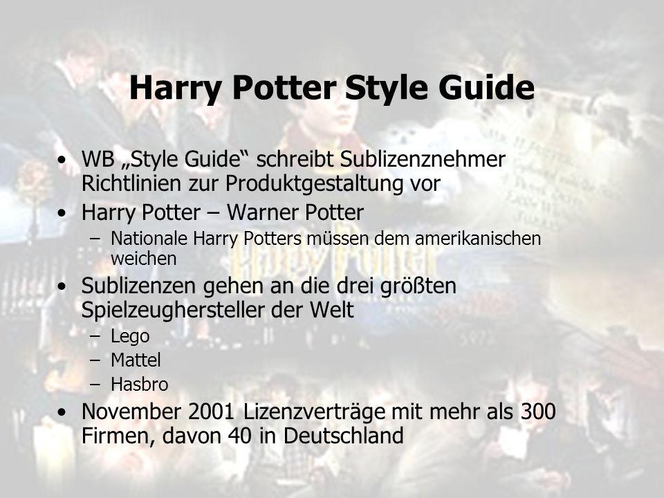 "Harry Potter Style Guide WB ""Style Guide"" schreibt Sublizenznehmer Richtlinien zur Produktgestaltung vor Harry Potter – Warner Potter –Nationale Harry"