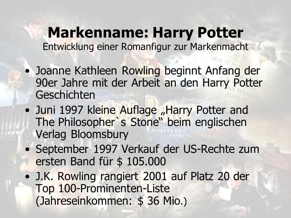 Markenname: Harry Potter Entwicklung einer Romanfigur zur Markenmacht Joanne Kathleen Rowling beginnt Anfang der 90er Jahre mit der Arbeit an den Harr