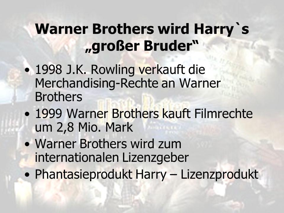 """Warner Brothers wird Harry`s """"großer Bruder"""" 1998 J.K. Rowling verkauft die Merchandising-Rechte an Warner Brothers 1999 Warner Brothers kauft Filmrec"""