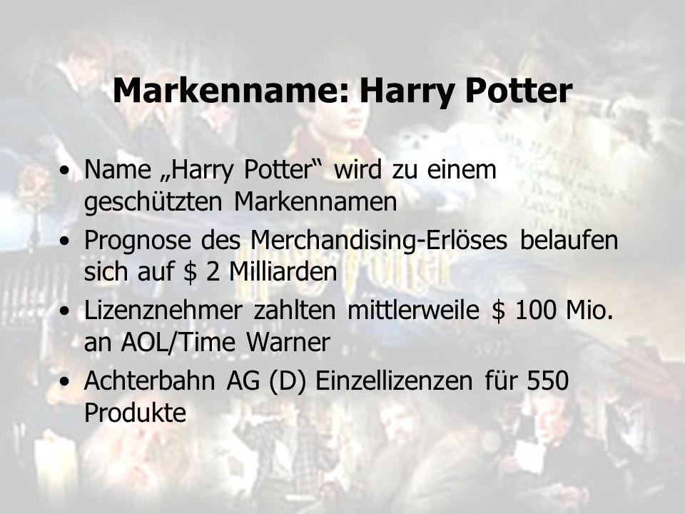 """Markenname: Harry Potter Name """"Harry Potter"""" wird zu einem geschützten Markennamen Prognose des Merchandising-Erlöses belaufen sich auf $ 2 Milliarden"""