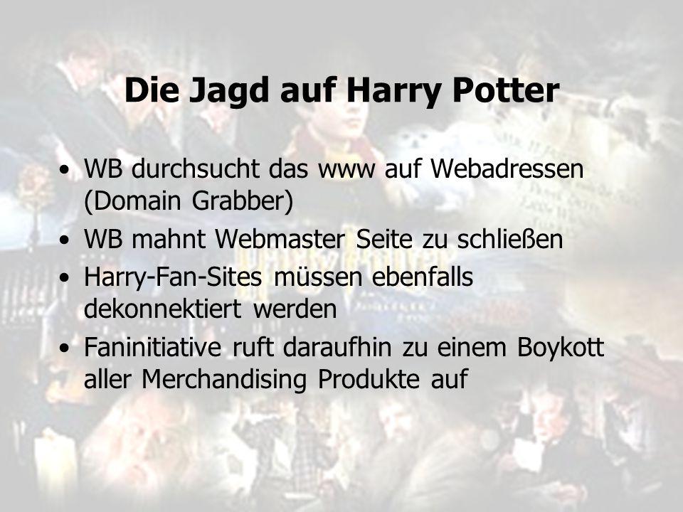 Die Jagd auf Harry Potter WB durchsucht das www auf Webadressen (Domain Grabber) WB mahnt Webmaster Seite zu schließen Harry-Fan-Sites müssen ebenfall