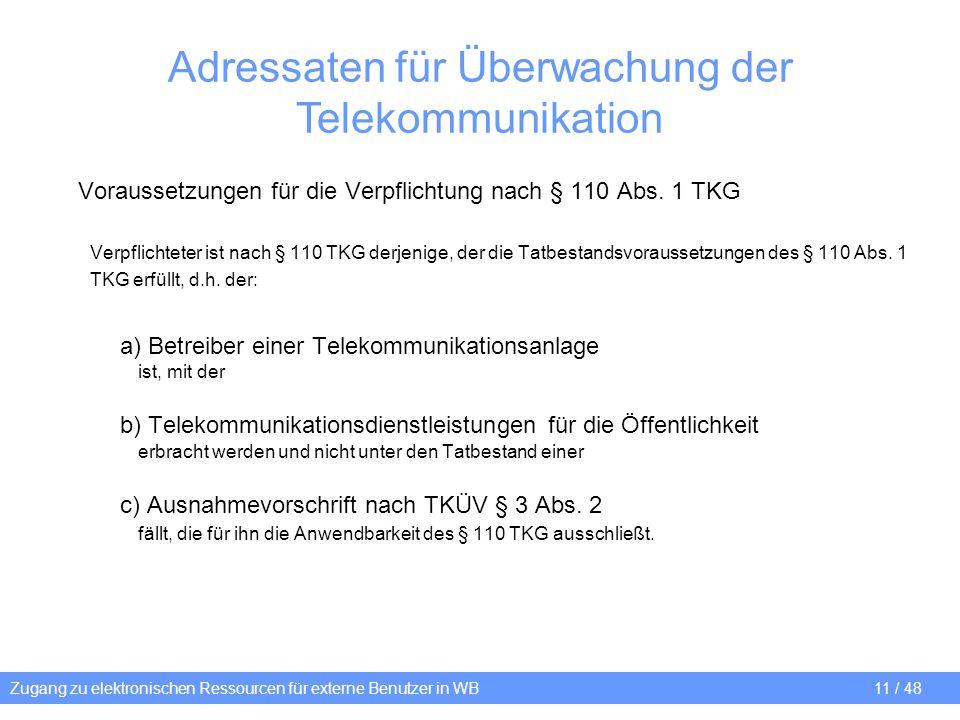Zugang zu elektronischen Ressourcen für externe Benutzer in WB 11 / 48 Adressaten für Überwachung der Telekommunikation Voraussetzungen für die Verpfl