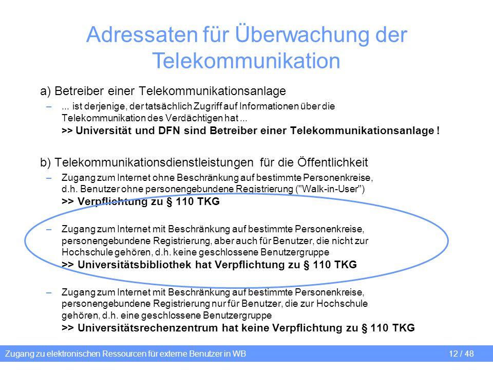 Zugang zu elektronischen Ressourcen für externe Benutzer in WB 12 / 48 Adressaten für Überwachung der Telekommunikation a) Betreiber einer Telekommuni