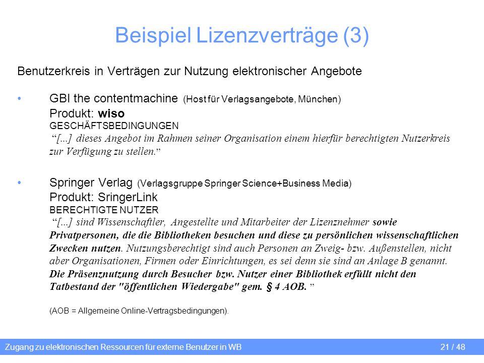 Zugang zu elektronischen Ressourcen für externe Benutzer in WB 21 / 48 Beispiel Lizenzverträge (3) Benutzerkreis in Verträgen zur Nutzung elektronisch