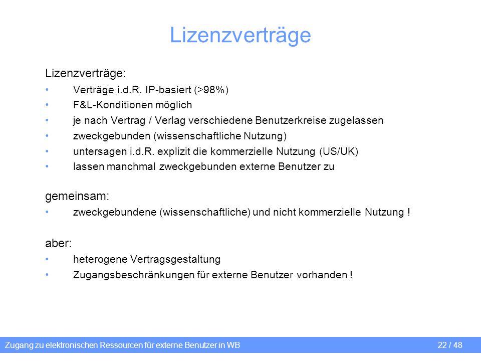 Zugang zu elektronischen Ressourcen für externe Benutzer in WB 22 / 48 Lizenzverträge Lizenzverträge: Verträge i.d.R. IP-basiert (>98%) F&L-Konditione