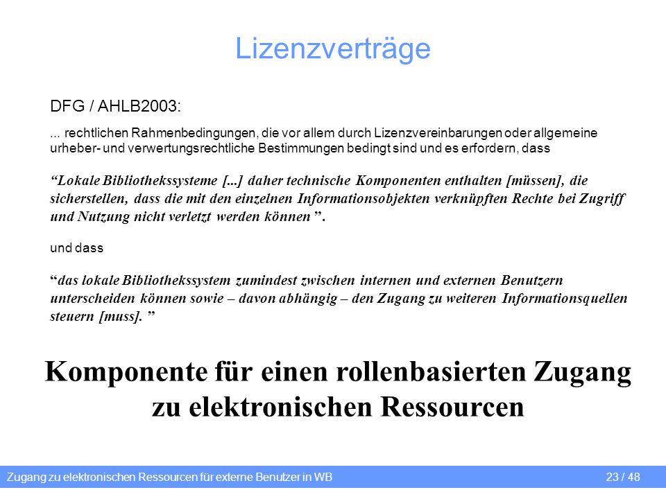 Zugang zu elektronischen Ressourcen für externe Benutzer in WB 23 / 48 Lizenzverträge DFG / AHLB2003:... rechtlichen Rahmenbedingungen, die vor allem