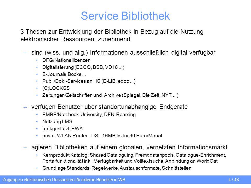 Zugang zu elektronischen Ressourcen für externe Benutzer in WB 35 / 48 Snapshot LBS-Benutzerdaten in AD AD-Client (W2K3-Server) Unix / LBS-Datenbank (Solaris 9 / SybaseASE 12.x) Tabelle: xprivate_adstore: Aktionen im LBS generieren Aktionen im AD, - Snapshot:: Generierung mit Skripts über crontab-Job (Shell-/SQL-scripts) iln smallint not null, address_id_nr int not null, borrower_bar varchar(20) not null, borrower_type tinyint not null, borower_type_ads tinyint not null, date_of_birth datetime not null, ins_date datetime not null, upd_date datetime not null, del_date datetime not null, ads_action char(1) not null ads_action (AD-Aktion): X = Keine Aktion I = INSERT (neuer Nutzer oder Wechsel Nutzertyp/Lesekarte) U = UPDATE (Änderung der Daten - borrower.edit_date) D = DELETE (Nutzer gelöscht, Personalsperre, Ablauf der Mitgliedschaft, Wechsel Nutzertyp/Lesekarte...) SQL: create AD-Skripts LDAP-INSERT, UPDATE DELETE User-Accounts in Active Directory (OU+Gruppe) (dsadd, dsmod, dsrm, admod, adfind) SQL: UPDATE/DELETE xprivate_adstore (satzweise, ads_action = X or delete) 4 1 2 3 AD-Aktionen quittieren SQL-UPDATE/DELETE xprivate_ADStore
