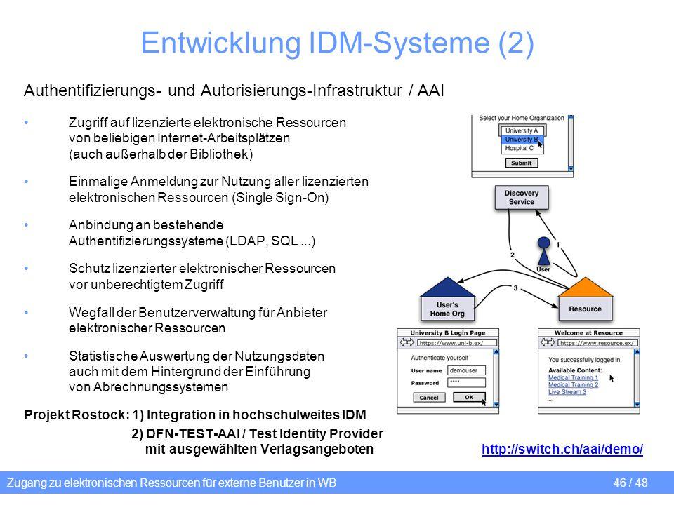 Zugang zu elektronischen Ressourcen für externe Benutzer in WB 46 / 48 Entwicklung IDM-Systeme (2) Authentifizierungs- und Autorisierungs-Infrastruktu