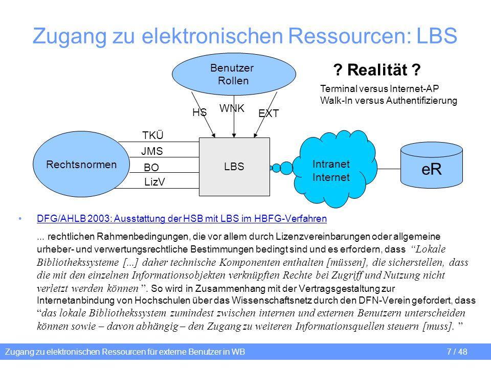 Zugang zu elektronischen Ressourcen für externe Benutzer in WB 7 / 48 Zugang zu elektronischen Ressourcen: LBS DFG/AHLB 2003: Ausstattung der HSB mit