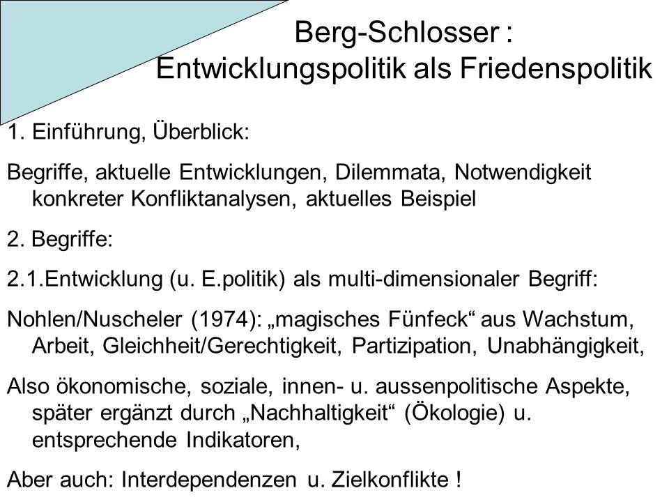 Berg-Schlosser : Entwicklungspolitik als Friedenspolitik 1.Einführung, Überblick: Begriffe, aktuelle Entwicklungen, Dilemmata, Notwendigkeit konkreter