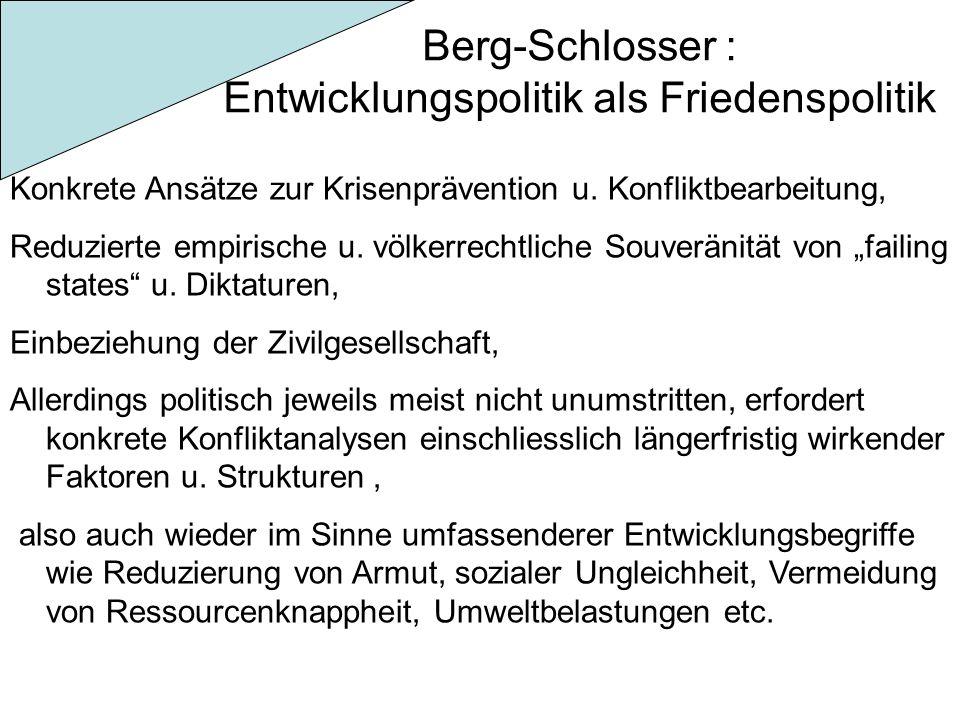 Berg-Schlosser : Entwicklungspolitik als Friedenspolitik Konkrete Ansätze zur Krisenprävention u. Konfliktbearbeitung, Reduzierte empirische u. völker