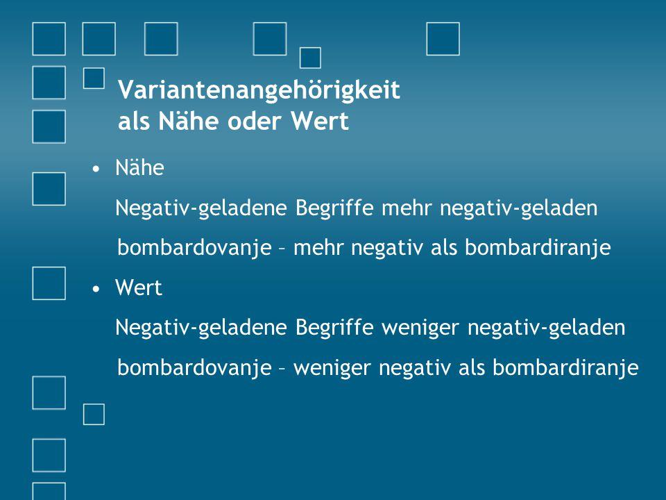 Variantenangehörigkeit als Nähe oder Wert Nähe Negativ-geladene Begriffe mehr negativ-geladen bombardovanje – mehr negativ als bombardiranje Wert Negativ-geladene Begriffe weniger negativ-geladen bombardovanje – weniger negativ als bombardiranje