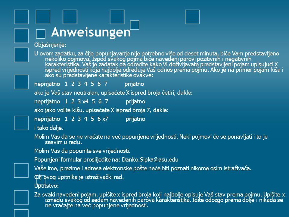 Anweisungen Objašnjenje: U ovom zadatku, za čije popunjavanje nije potrebno više od deset minuta, biće Vam predstavljeno nekoliko pojmova.