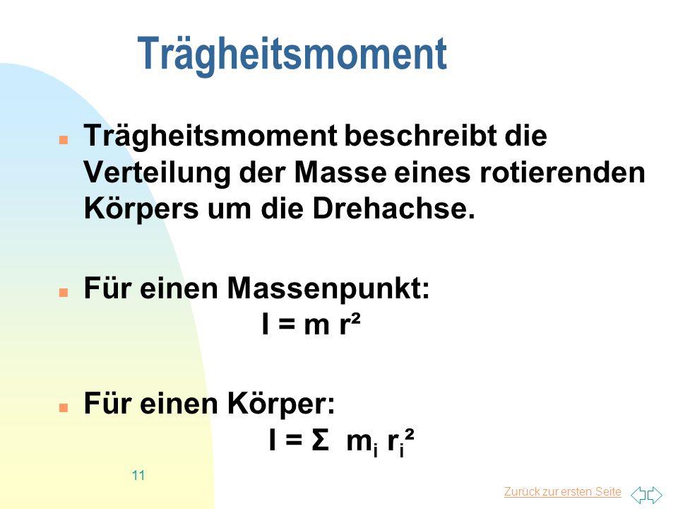 Zurück zur ersten Seite 11 Trägheitsmoment Trägheitsmoment beschreibt die Verteilung der Masse eines rotierenden Körpers um die Drehachse. Für einen M