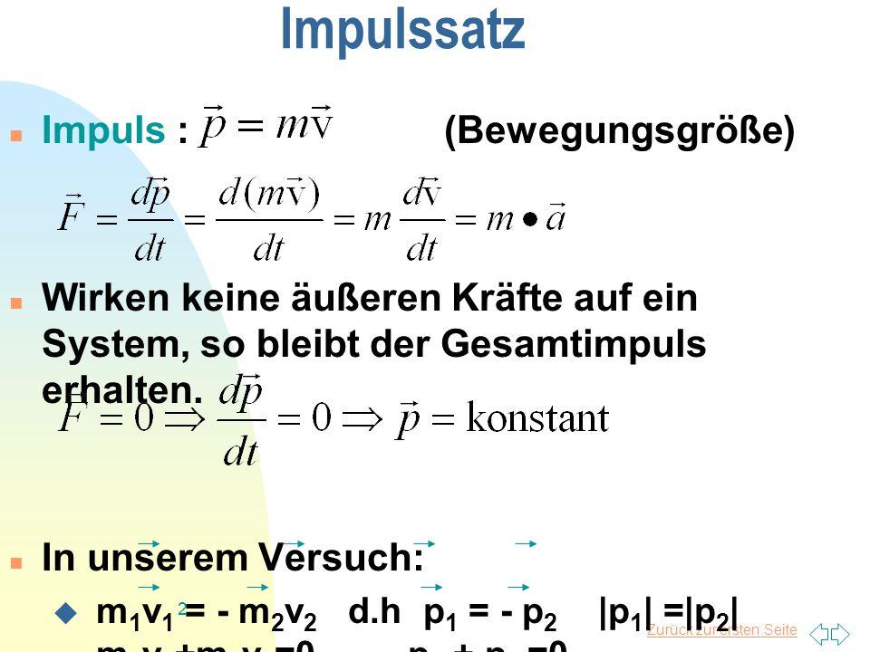 Zurück zur ersten Seite 2 Impulssatz Impuls : (Bewegungsgröße) Wirken keine äußeren Kräfte auf ein System, so bleibt der Gesamtimpuls erhalten.