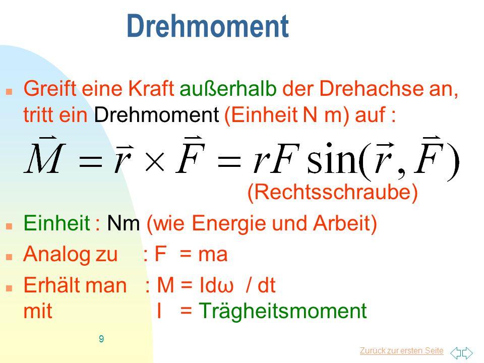 Zurück zur ersten Seite 9 Drehmoment Greift eine Kraft außerhalb der Drehachse an, tritt ein Drehmoment (Einheit N m) auf : (Rechtsschraube) Einheit : Nm (wie Energie und Arbeit) Analog zu : F = ma Erhält man : M = Idω / dt mit I = Trägheitsmoment