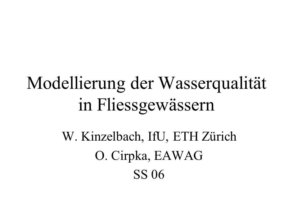 Inhalt Prozesse und Gleichungen Strömungsmodelle Mischung Tracertransport Fluss Temperaturmodell Fluss Sauerstoffmodell Fluss Nutrientenmodell Biozönosenmodellierung Temperaturmodell See Sedimenttransport