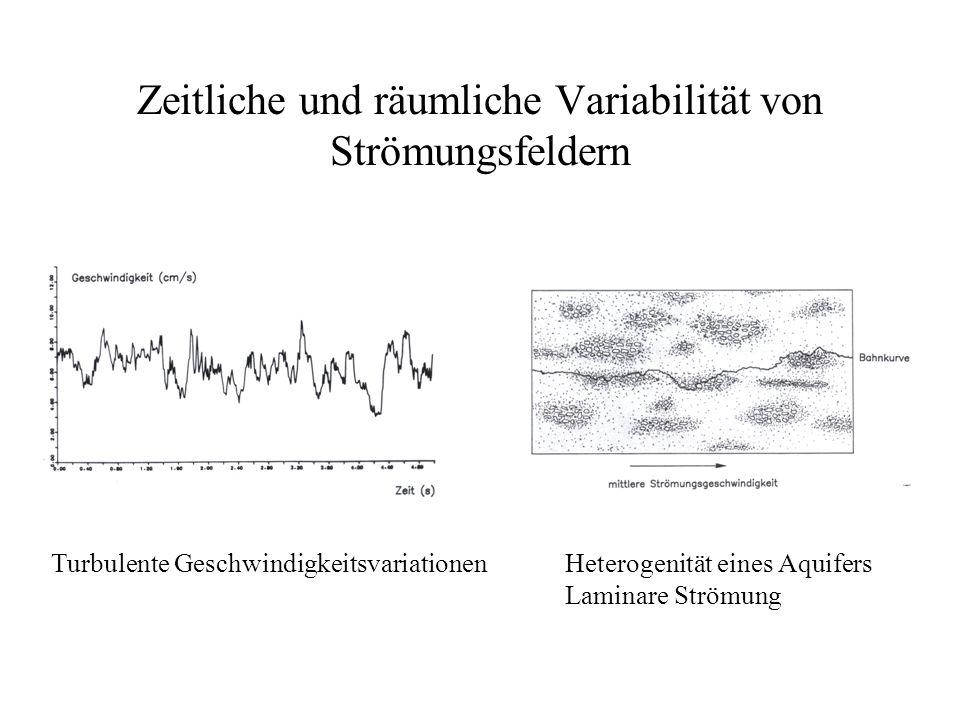 Zeitliche und räumliche Variabilität von Strömungsfeldern Heterogenität eines Aquifers Laminare Strömung Turbulente Geschwindigkeitsvariationen