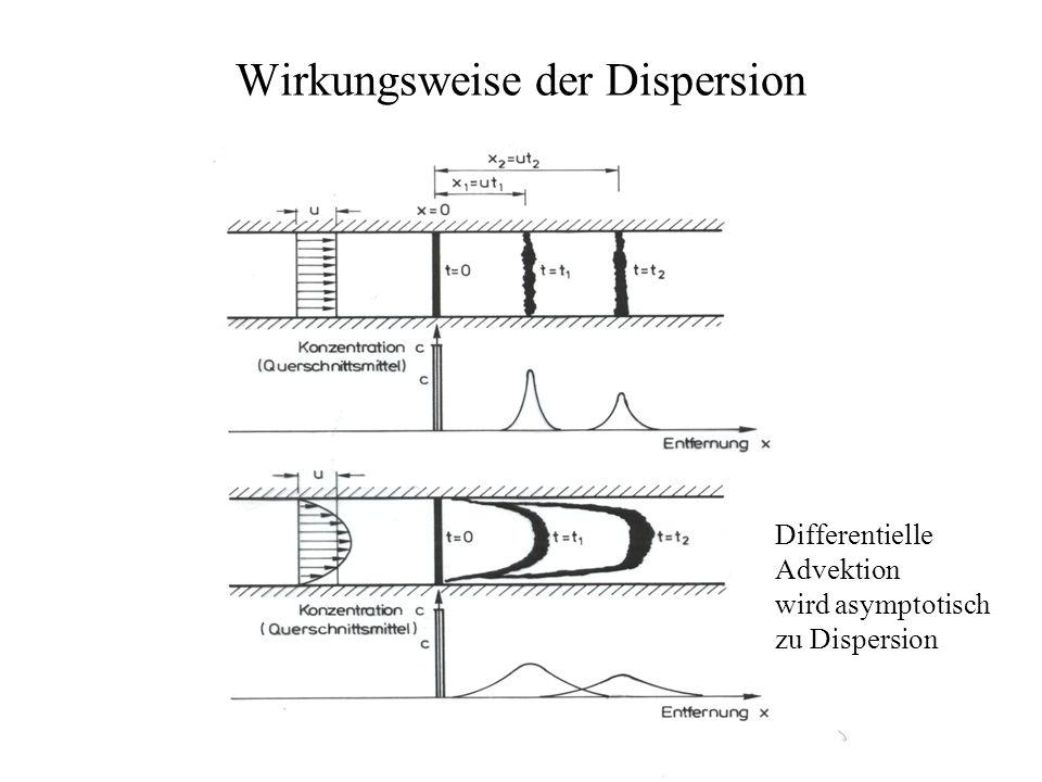 Wirkungsweise der Dispersion Differentielle Advektion wird asymptotisch zu Dispersion