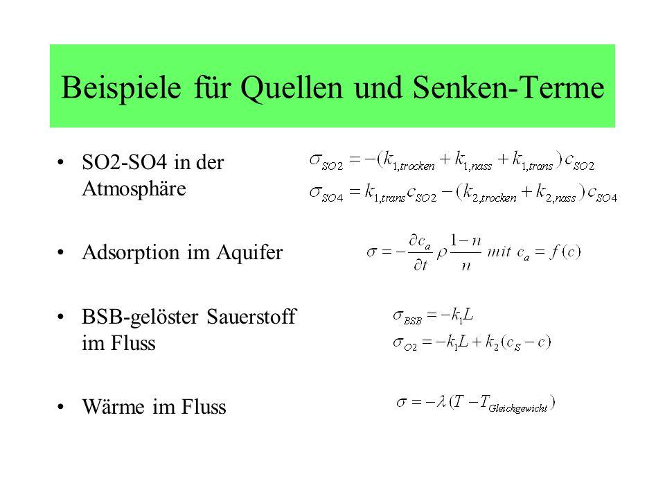 Beispiele für Quellen und Senken-Terme SO2-SO4 in der Atmosphäre Adsorption im Aquifer BSB-gelöster Sauerstoff im Fluss Wärme im Fluss