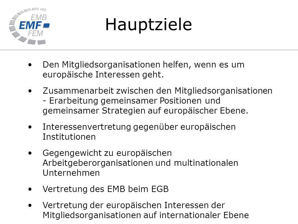 Hauptziele Den Mitgliedsorganisationen helfen, wenn es um europäische Interessen geht.