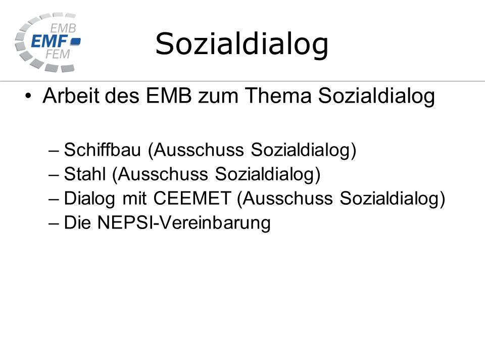 Arbeit des EMB zum Thema Sozialdialog –Schiffbau (Ausschuss Sozialdialog) –Stahl (Ausschuss Sozialdialog) –Dialog mit CEEMET (Ausschuss Sozialdialog) –Die NEPSI-Vereinbarung