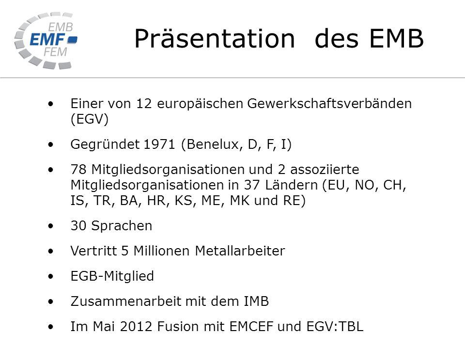 Präsentation des EMB Einer von 12 europäischen Gewerkschaftsverbänden (EGV) Gegründet 1971 (Benelux, D, F, I) 78 Mitgliedsorganisationen und 2 assoziierte Mitgliedsorganisationen in 37 Ländern (EU, NO, CH, IS, TR, BA, HR, KS, ME, MK und RE) 30 Sprachen Vertritt 5 Millionen Metallarbeiter EGB-Mitglied Zusammenarbeit mit dem IMB Im Mai 2012 Fusion mit EMCEF und EGV:TBL