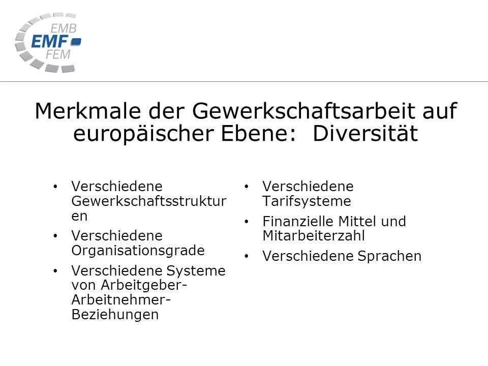 Merkmale der Gewerkschaftsarbeit auf europäischer Ebene: Diversität Verschiedene Gewerkschaftsstruktur en Verschiedene Organisationsgrade Verschiedene Systeme von Arbeitgeber- Arbeitnehmer- Beziehungen Verschiedene Tarifsysteme Finanzielle Mittel und Mitarbeiterzahl Verschiedene Sprachen