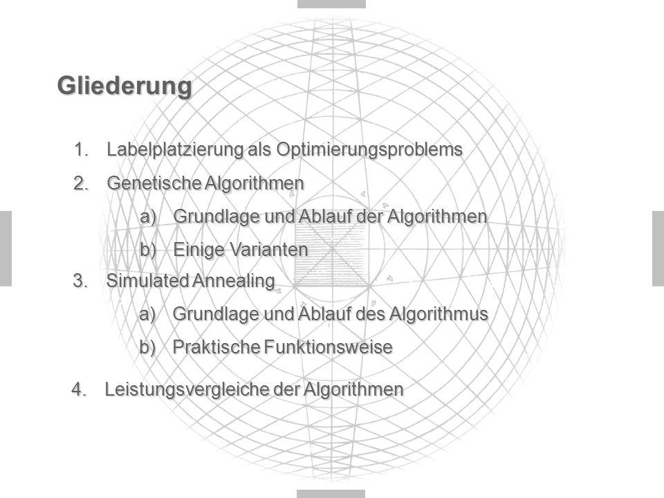 Gliederung 1.Labelplatzierung als Optimierungsproblems 2.Genetische Algorithmen a)Grundlage und Ablauf der Algorithmen b)Einige Varianten 3.Simulated Annealing a)Grundlage und Ablauf des Algorithmus b)Praktische Funktionsweise 4.Leistungsvergleiche der Algorithmen