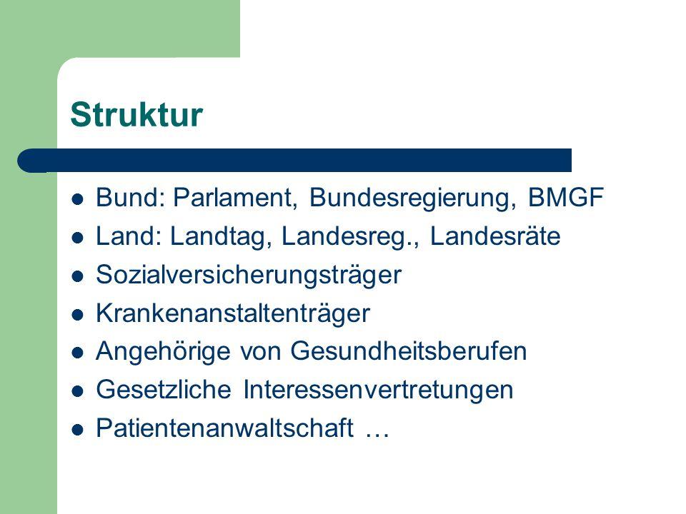 Struktur Bund: Parlament, Bundesregierung, BMGF Land: Landtag, Landesreg., Landesräte Sozialversicherungsträger Krankenanstaltenträger Angehörige von