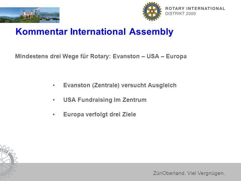 ZüriOberland. Viel Vergnügen. Mindestens drei Wege für Rotary: Evanston – USA – Europa Evanston (Zentrale) versucht Ausgleich USA Fundraising im Zentr
