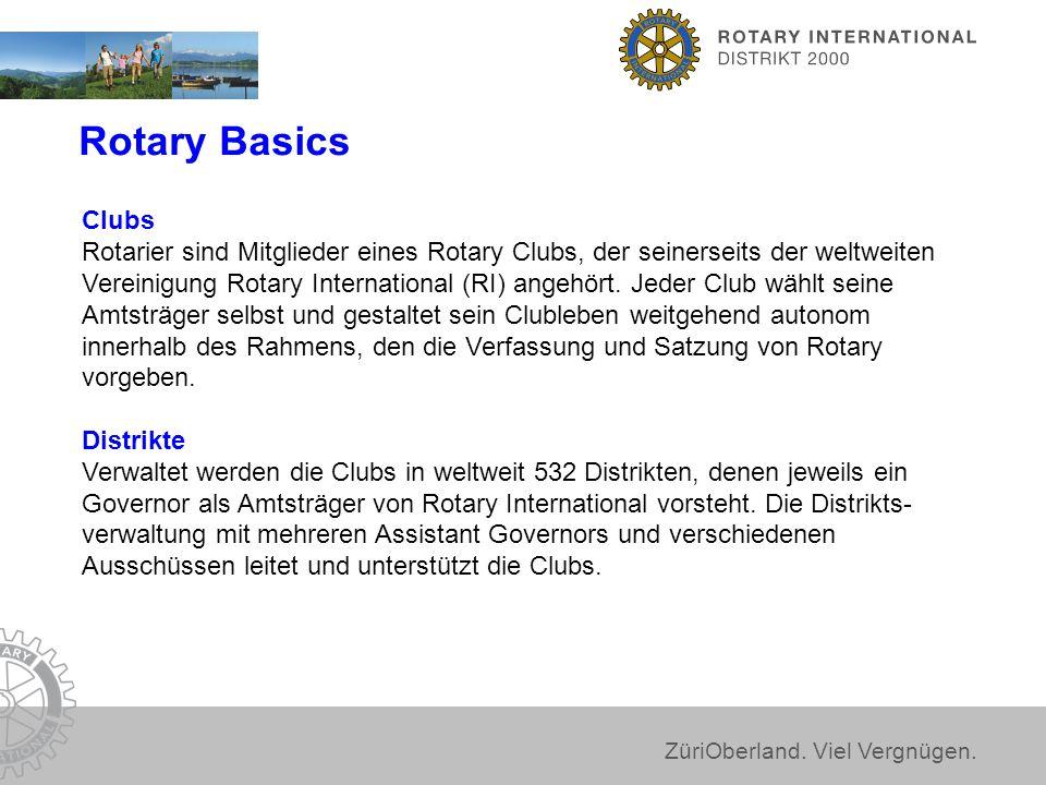 ZüriOberland. Viel Vergnügen. Rotary Basics Clubs Rotarier sind Mitglieder eines Rotary Clubs, der seinerseits der weltweiten Vereinigung Rotary Inter