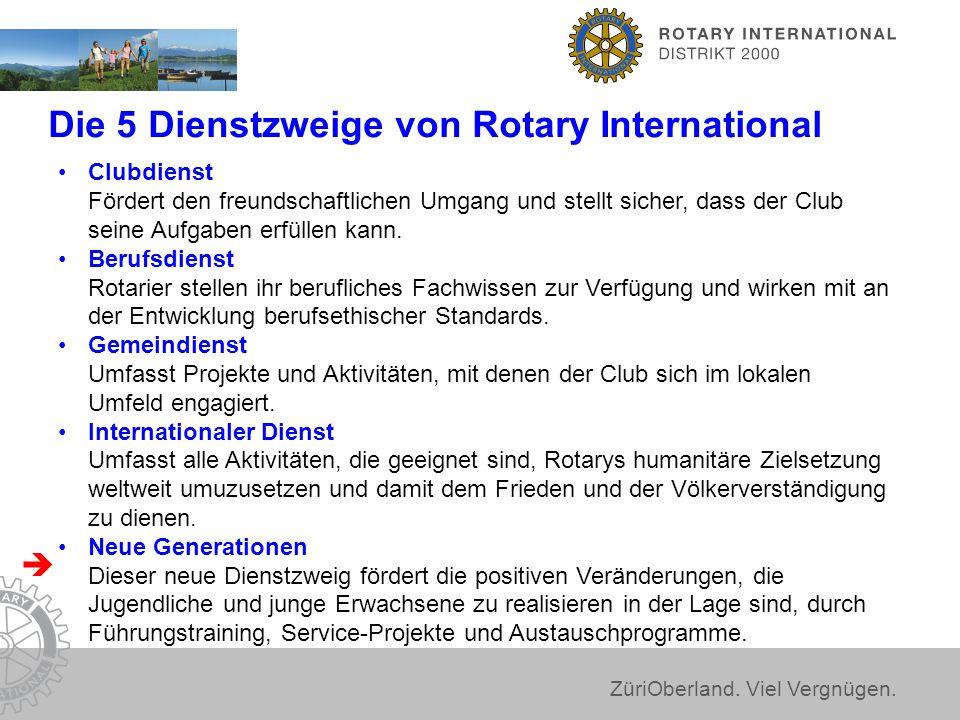 ZüriOberland. Viel Vergnügen. Die 5 Dienstzweige von Rotary International Clubdienst Fördert den freundschaftlichen Umgang und stellt sicher, dass der