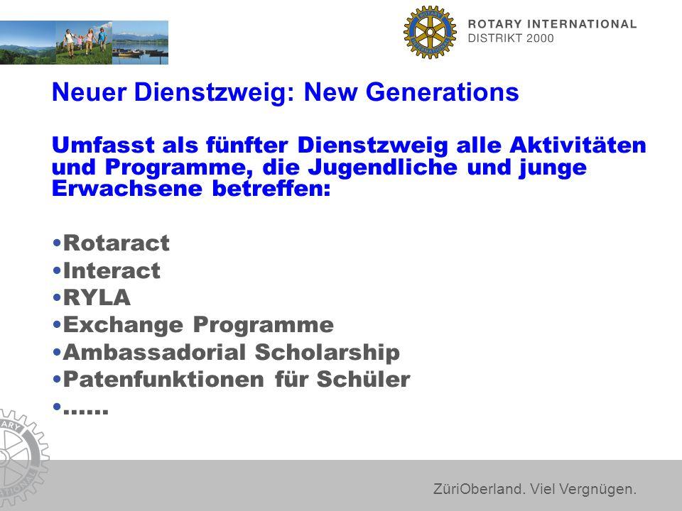 ZüriOberland. Viel Vergnügen. Neuer Dienstzweig: New Generations Umfasst als fünfter Dienstzweig alle Aktivitäten und Programme, die Jugendliche und j
