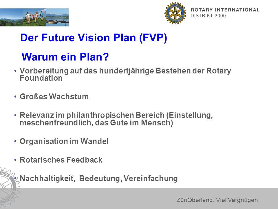 ZüriOberland. Viel Vergnügen. Der Future Vision Plan (FVP) Vorbereitung auf das hundertjährige Bestehen der Rotary Foundation Großes Wachstum Relevanz