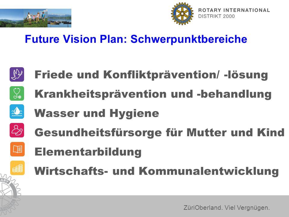 ZüriOberland. Viel Vergnügen. Future Vision Plan: Schwerpunktbereiche Friede und Konfliktprävention/ -lösung Krankheitsprävention und -behandlung Wass