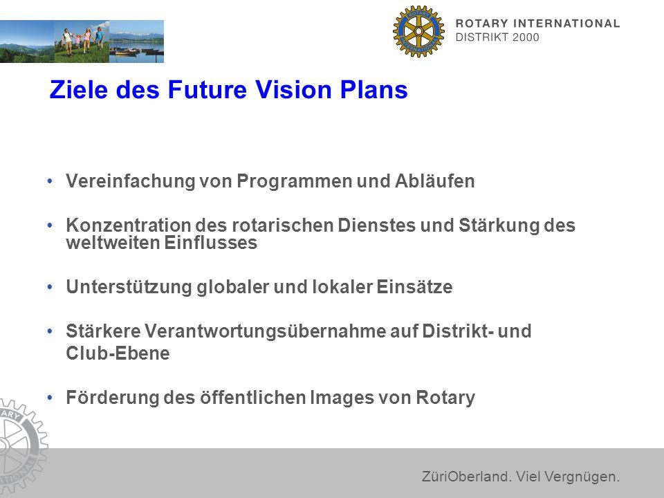 ZüriOberland. Viel Vergnügen. Ziele des Future Vision Plans Vereinfachung von Programmen und Abläufen Konzentration des rotarischen Dienstes und Stärk