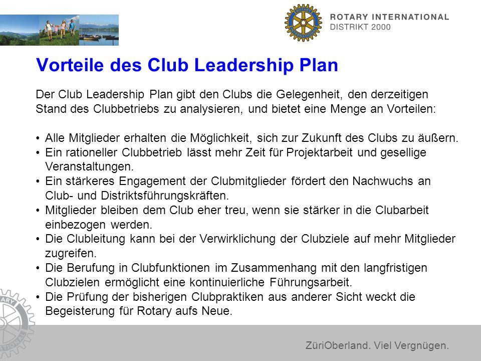 ZüriOberland. Viel Vergnügen. Vorteile des Club Leadership Plan Der Club Leadership Plan gibt den Clubs die Gelegenheit, den derzeitigen Stand des Clu