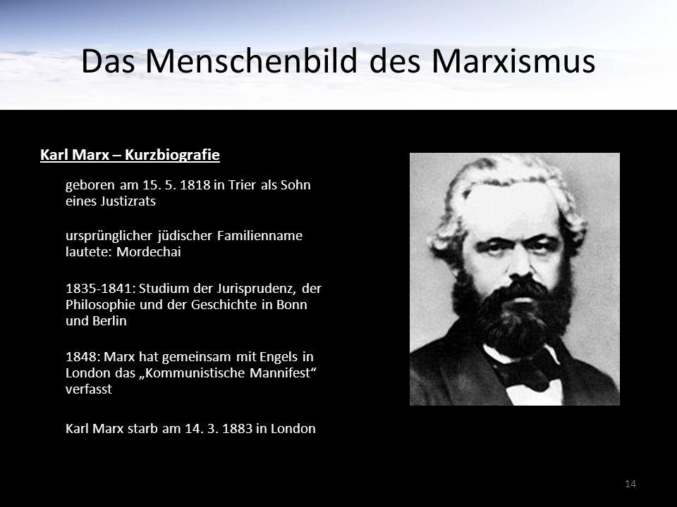 14 Das Menschenbild des Marxismus Karl Marx – Kurzbiografie geboren am 15. 5. 1818 in Trier als Sohn eines Justizrats ursprünglicher jüdischer Familie