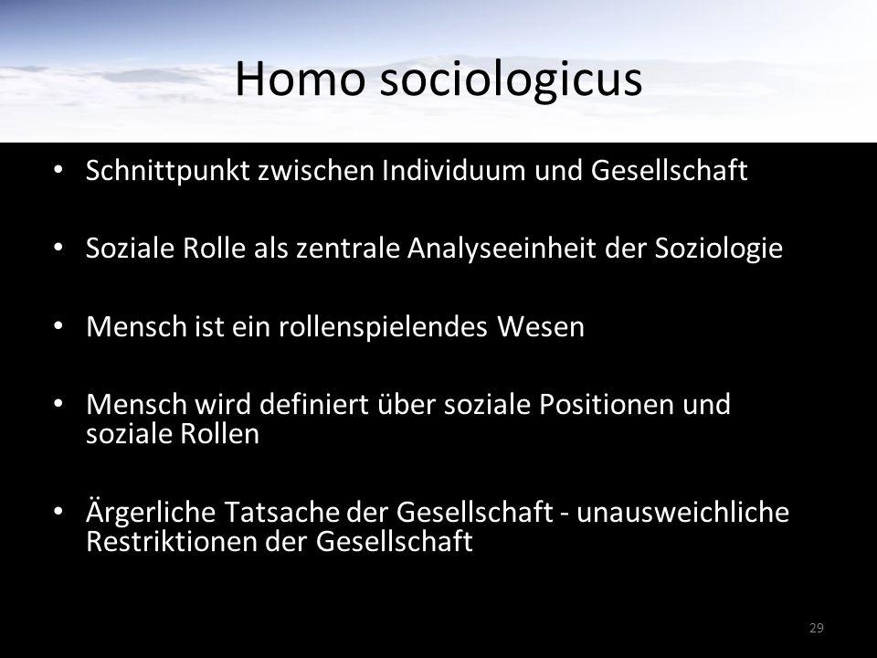 29 Homo sociologicus Schnittpunkt zwischen Individuum und Gesellschaft Soziale Rolle als zentrale Analyseeinheit der Soziologie Mensch ist ein rollenspielendes Wesen Mensch wird definiert über soziale Positionen und soziale Rollen Ärgerliche Tatsache der Gesellschaft - unausweichliche Restriktionen der Gesellschaft